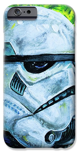 IPhone 6 Case featuring the painting Star Wars Helmet Series - Storm Trooper by Aaron Spong