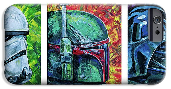 IPhone 6 Case featuring the painting Star Wars Helmet Series - Triptych by Aaron Spong