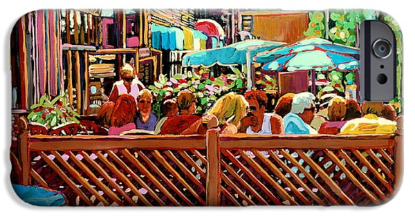 Luncheonettes Paintings iPhone Cases - Starbucks Cafe On Monkland Montreal Cityscene iPhone Case by Carole Spandau