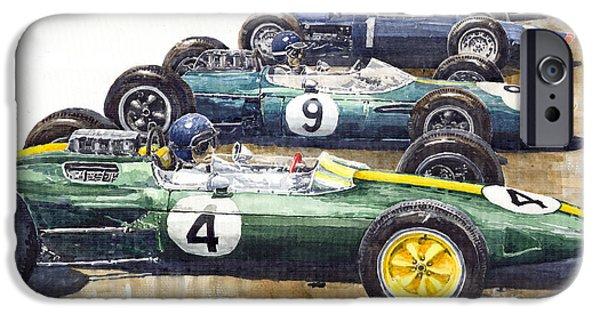 Jack iPhone Cases - Start British GP 1963 - Lotus  Brabham  BRM  Brabham iPhone Case by Yuriy  Shevchuk