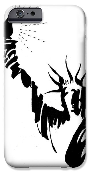 Statue Portrait Drawings iPhone Cases - Statue Of Liberty iPhone Case by Farah Faizal