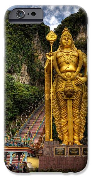 Rail Digital Art iPhone Cases - Statue of Murugan iPhone Case by Adrian Evans