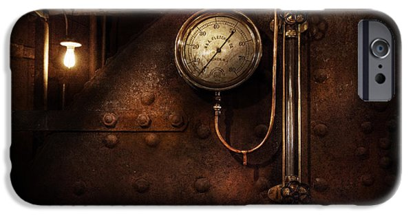 Mechanism iPhone Cases - Steampunk - Boiler Gauge iPhone Case by Mike Savad