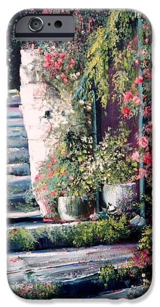 Staircase Paintings iPhone Cases - Steps to the Garden iPhone Case by Sally Seago