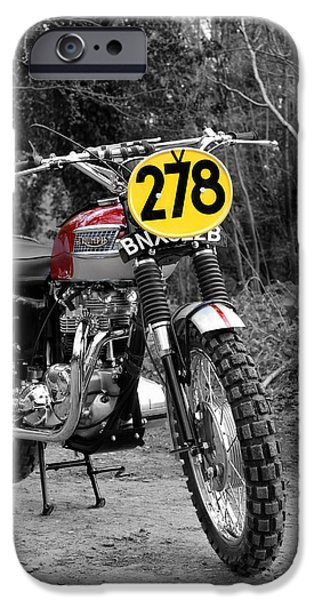 Steve Mcqueen iPhone Cases - Steve McQueen ISDT Triumph iPhone Case by Mark Rogan