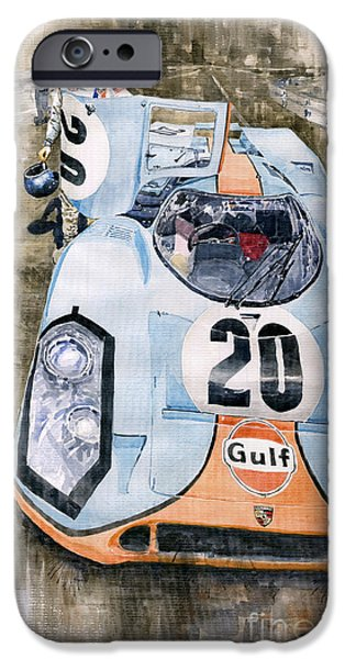 Racing Paintings iPhone Cases - Steve McQueens Porsche 917K Le Mans iPhone Case by Yuriy  Shevchuk