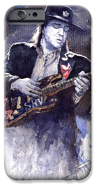 Rays Paintings iPhone Cases - Stevie Ray Vaughan 1 iPhone Case by Yuriy  Shevchuk