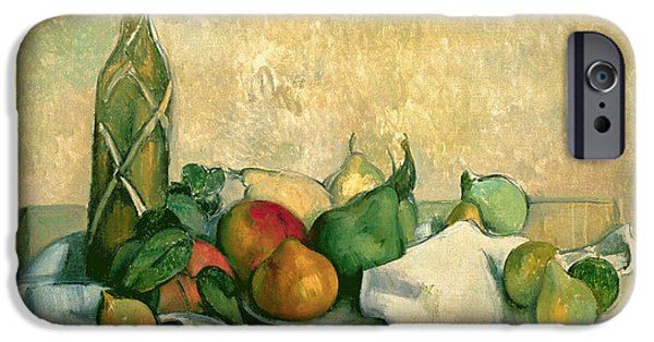 Booze iPhone Cases - Still Life with Bottle of Liqueur iPhone Case by Paul Cezanne