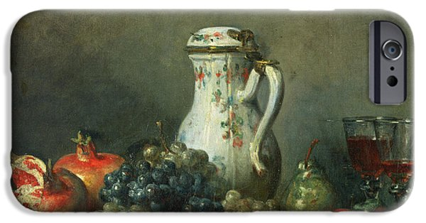 Glass Of Wine iPhone Cases - Still Life with Grapes and Pomegranates iPhone Case by Jean-Baptiste Simeon Chardin