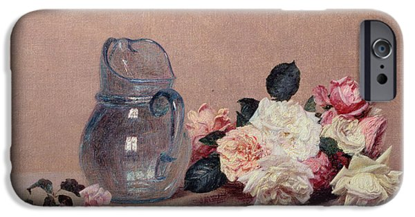 Ledge iPhone Cases - Still Life with Roses iPhone Case by Ignace Henri Jean Fantin-Latour