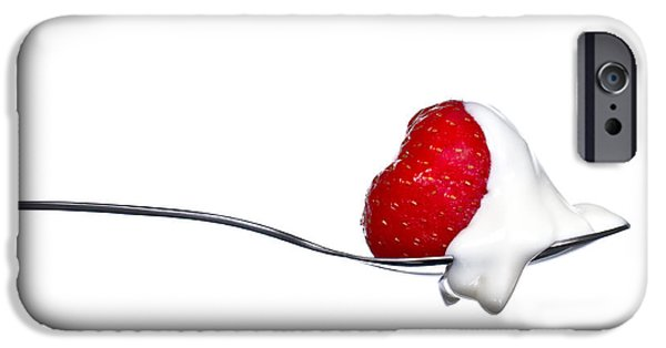 Strawberry iPhone Cases - Strawberry and Cream iPhone Case by Gert Lavsen