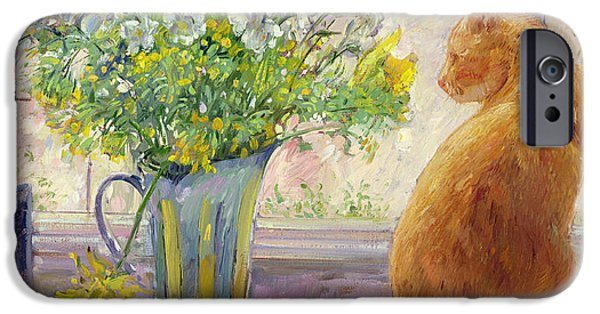 House iPhone Cases - Striped Jug with Spring Flowers iPhone Case by Timothy Easton