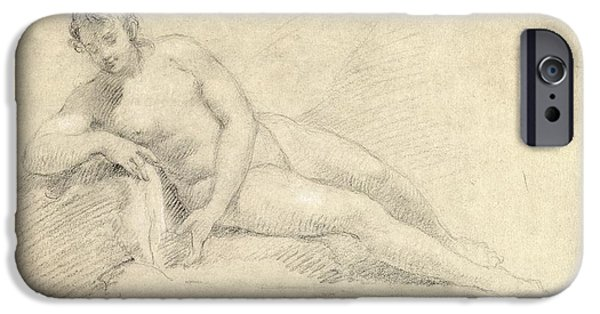 Female Body iPhone Cases - Study of a Female Nude  iPhone Case by William Hogarth