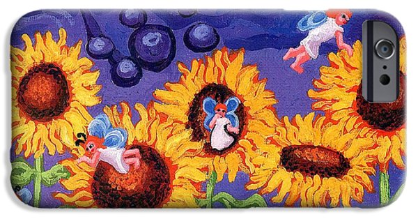 Esson iPhone Cases - Sunflowers and Faeries iPhone Case by Genevieve Esson