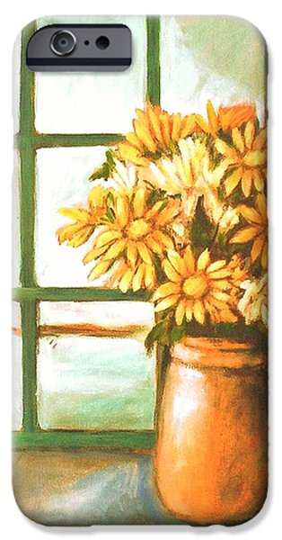 IPhone 6 Case featuring the painting Sunflowers In Window by Winsome Gunning
