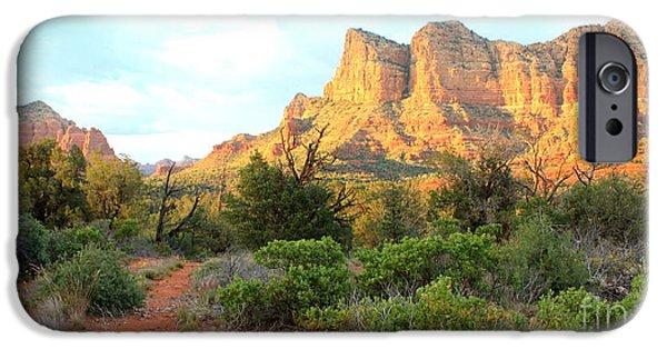 Sedona iPhone Cases - Sunlight on Sedona Rocks iPhone Case by Carol Groenen