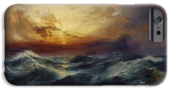 Hudson River iPhone Cases - Sunset After a Storm iPhone Case by Thomas Moran