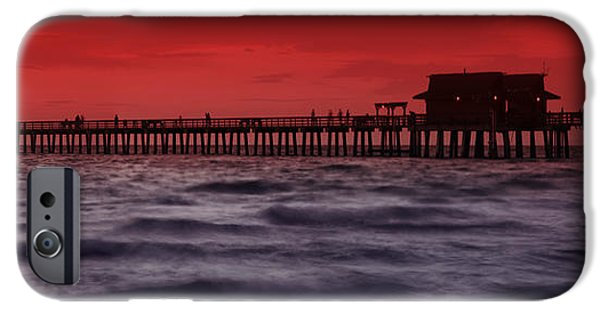 Panoramic Ocean iPhone Cases - Sunset at Naples Pier iPhone Case by Melanie Viola
