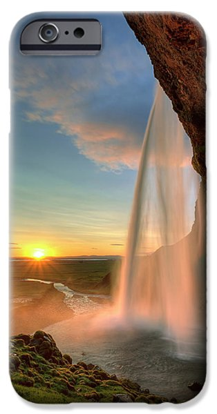 Spray iPhone Cases - Sunset at Seljalandsfoss iPhone Case by Peter OReilly