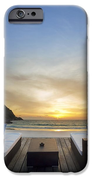 Beach Chair iPhone Cases - Sunset Beach iPhone Case by Setsiri Silapasuwanchai