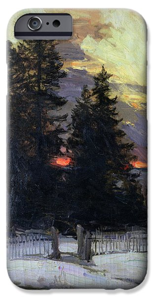 Setting Sun iPhone Cases - Sunset over a Winter Landscape iPhone Case by Abram Efimovich Arkhipov