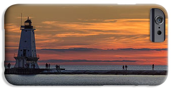 IPhone 6 Case featuring the photograph Sunset Over Ludington Panoramic by Adam Romanowicz