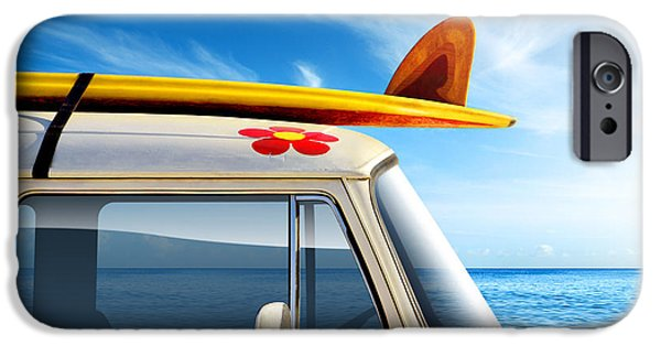 Cars iPhone Cases - Surf Van iPhone Case by Carlos Caetano