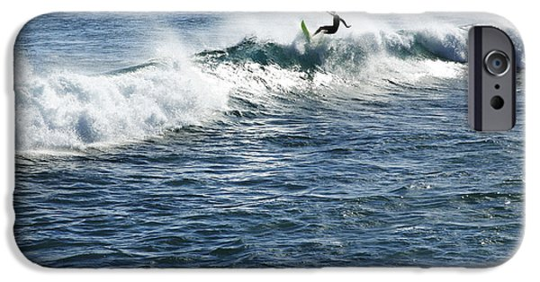 Adrenaline iPhone Cases - Surfer riding a wave iPhone Case by Brandon Tabiolo - Printscapes
