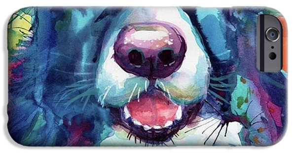 Follow iPhone 6 Case - Surprised Border Collie Watercolor by Svetlana Novikova