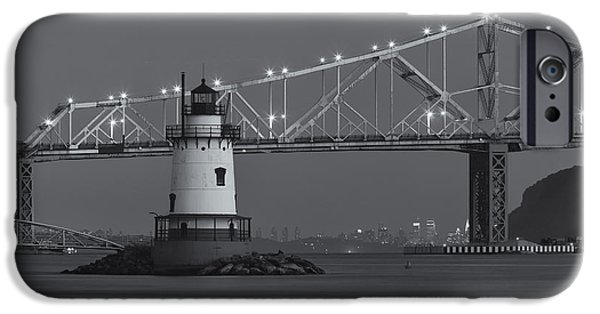 Hudson River iPhone Cases - Tarrytown Lighthouse and Tappan Zee Bridge at Twilight II iPhone Case by Clarence Holmes