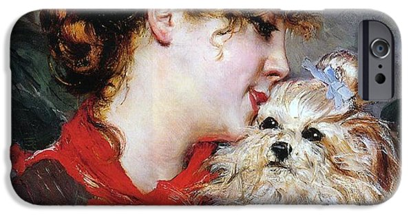 Dog Head iPhone Cases - The actress Rejane and her dog iPhone Case by Giovanni Boldini