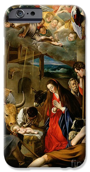 Cherub iPhone Cases - The Adoration of the Shepherds iPhone Case by Fray Juan Batista Maino or Mayno