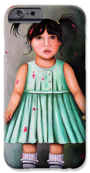 Little Girl iPhone Cases - The Artist-Beginning of a child prodigy iPhone Case by Leah Saulnier The Painting Maniac