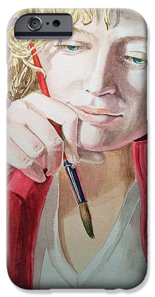 Self Portrait Paintings iPhone Cases - The Artist iPhone Case by Irina Sztukowski
