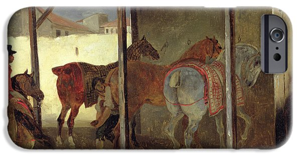Horseback Riding iPhone Cases - The Barn of Marechal-Ferrant iPhone Case by Theodore Gericault