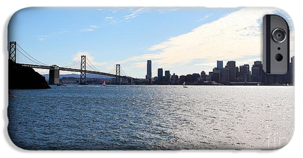 Oakland Bay Bridge iPhone Cases - The Bay Bridge and The San Francisco Skyline Viewed From Treasure Island . 7D7771 iPhone Case by Wingsdomain Art and Photography