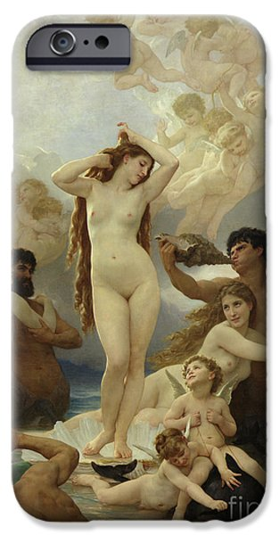 Beautiful iPhone Cases - The Birth of Venus iPhone Case by William-Adolphe Bouguereau