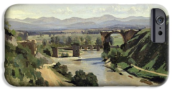 1796 iPhone Cases - The Bridge of Augustus over the Nera iPhone Case by Jean Baptiste Camille Corot