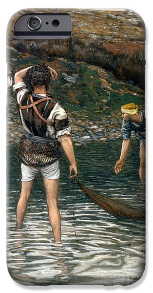 The Followers Paintings iPhone Cases - The Calling of Saint Peter and Saint Andrew iPhone Case by Tissot