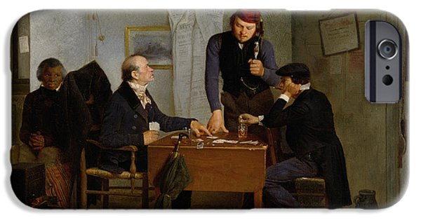 The Clock iPhone Cases - The Card Players iPhone Case by  Richard Caton Woodville
