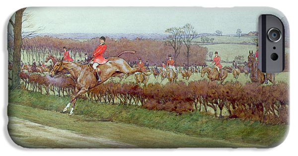 Dog Running. iPhone Cases - The Cheshire away from Tattenhall iPhone Case by Cecil Charles Windsor Aldin