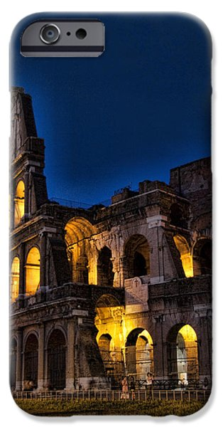 The Coleseum in Rome at night iPhone Case by David Smith