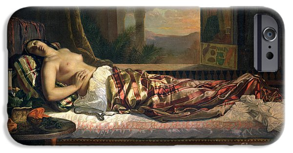 Cushion iPhone Cases - The Death of Cleopatra iPhone Case by German von Bohn