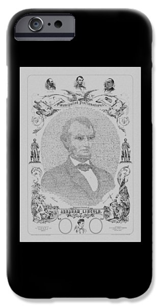 President iPhone Cases - The Emancipation Proclamation iPhone Case by War Is Hell Store