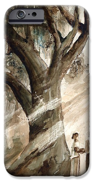 Monotone Paintings iPhone Cases - The Encounter iPhone Case by Arline Wagner