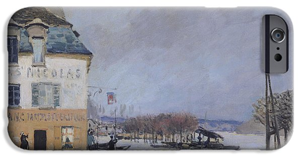 Floods iPhone Cases - The Flood at Port Marly iPhone Case by Alfred Sisley
