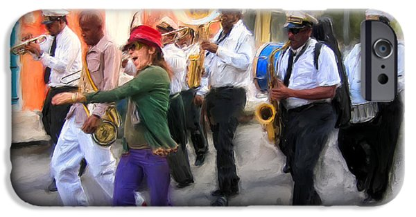 Mardi Gras Paintings iPhone Cases - The French Quarter Shuffle iPhone Case by Dominic Piperata
