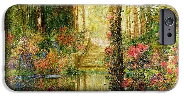 Garden Scene iPhone Cases - The Garden of Enchantment iPhone Case by Thomas Edwin Mostyn