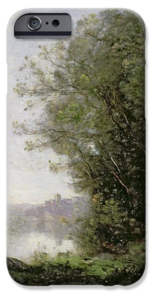 1796 iPhone Cases - The Goatherd beside the Water  iPhone Case by Jean Baptiste Camille Corot