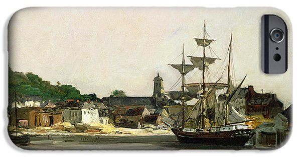 Chip iPhone Cases - The Harbour at Honfleur iPhone Case by Karl Pierre Daubigny